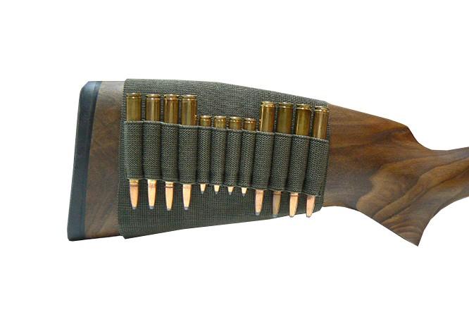 Étui de crosse en gomme élastique - Pour 4x cartouches de petit calibre et 8x cartouches de carabine