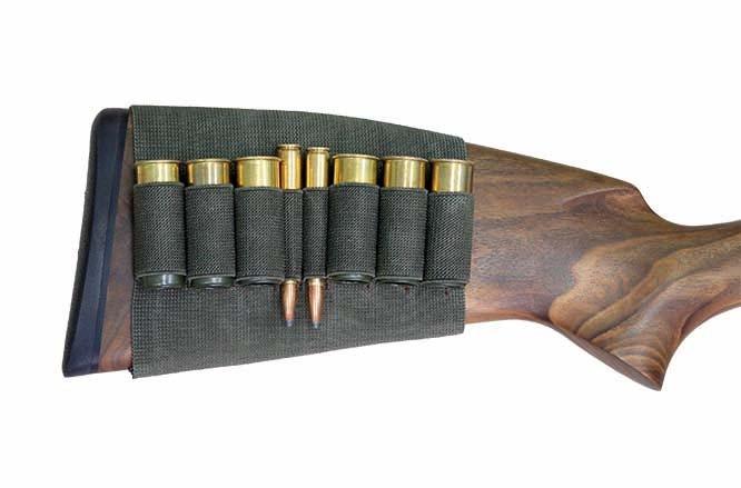 Étui de crosse en caoutchouc élastique - Pour 2x cartouches de carabine et 6x cartouches à plomb